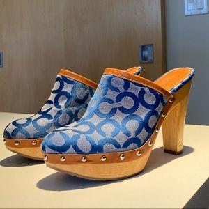 Coach blue clogs
